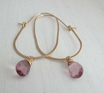 Pink Quartz Egg Hoop Earrings