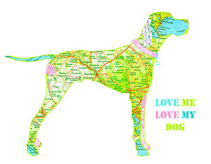 Personalised English Pointer Map Dog Print
