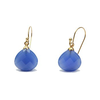 Electric Chalcedony Gold Earrings