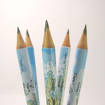 Set Of Five Map Of Ireland Pencils