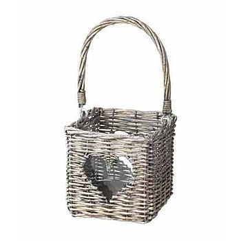 Grey Wicker Heart Lantern
