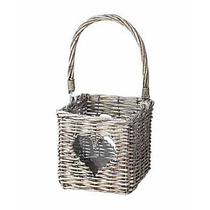Grey Wicker Heart Lantern - lights & candles