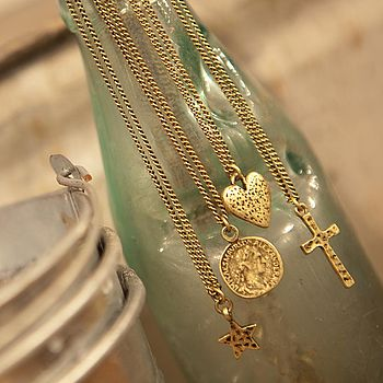 Antique Gold Charm Necklace