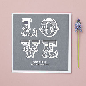 'Love' Personalised Wedding/Anniversary Card - anniversary cards