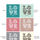 'Love' Personalised Wedding/Anniversary Card