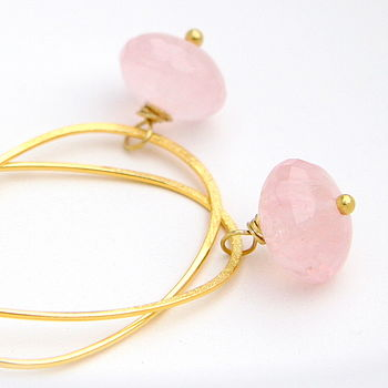 Rose Quartz Oval Hoop Earrings