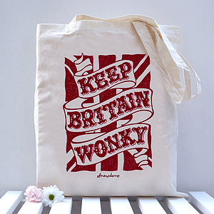 'Keep Britain Wonky' Union Jack Tote Bag