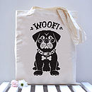 Pug Dog Tote Black option