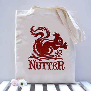'Nutter' Squirrel Tote Bag - laundry room