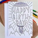 Hot Air Balloon Colouring In Card