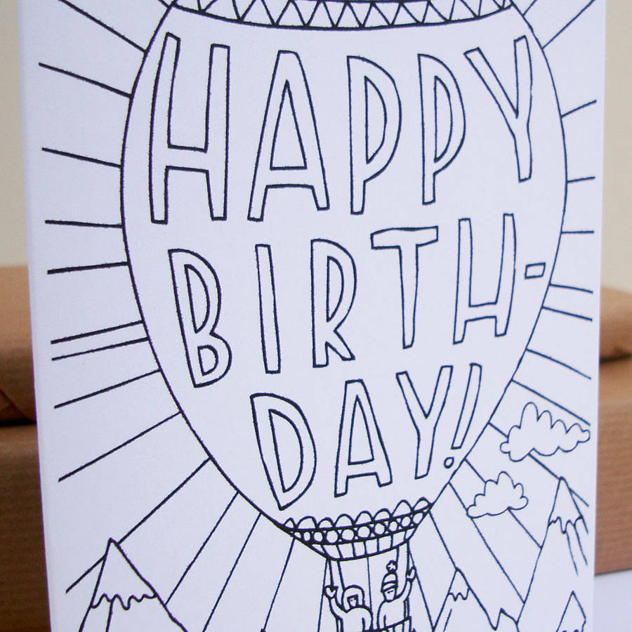 Hot Air Balloon Colouring In Card By Nic Farrell Illustration