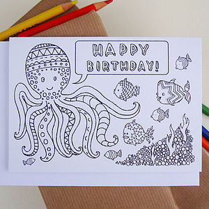 Octopus Colouring In Birthday Card