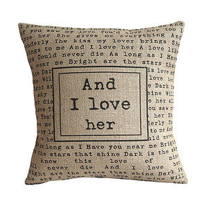 'And I Love Her' Cushion Cover - bedroom