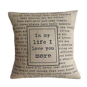 'In My Life' Cushion - bedroom