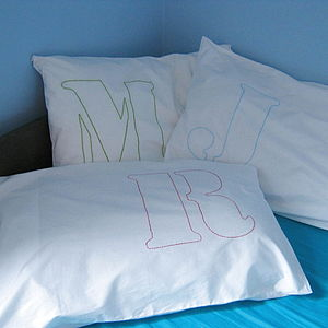 Personalised Initial Embroidered Pillowcase - bedroom