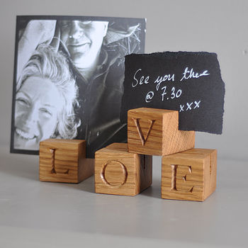 LOVE Oak Letter Cubes