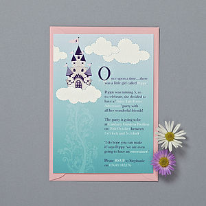 Fairytale Princess Party Invitations - children's party invitations