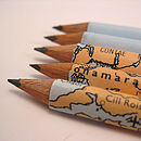 Set Of Five Map Of Ireland Pencils