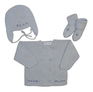 Cashmere Trains Jacket, Hat & Booties - hats, scarves & gloves