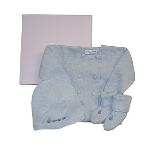 Cashmere Trains Jacket, Hat & Booties - babygrows