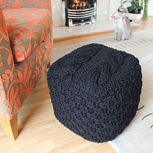 Chunky Hand Knit Footstool - furniture