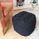 Black Handmade Chunky Knit Pouffe - medium