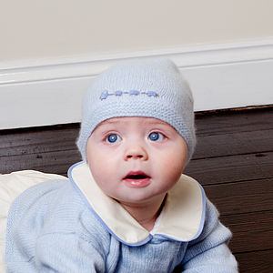 Cashmere Baby Beanie With Trains