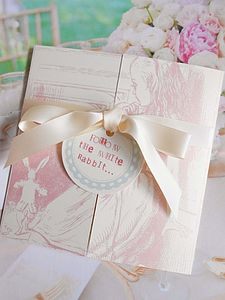 Adorable Alice Folded Invitation Set - christening invitations