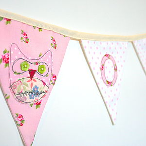 Owl Personalised Fabric Bunting - bunting & garlands