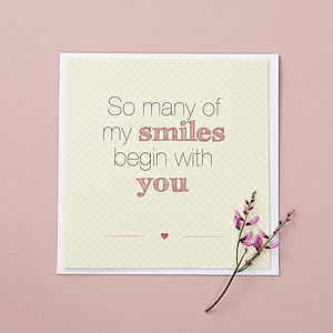 'So Many Smiles' Card - wedding, engagement & anniversary cards