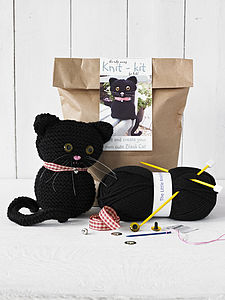 Black Cat Knitting Kit - gifts for children