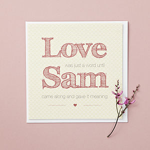 Personalised 'Love Word' Valentine's Card - valentine's cards