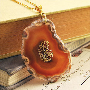 Agate Feather Necklace - women