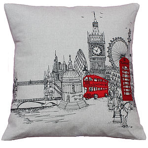 London Landmarks Printed Stitch Cushion Cover