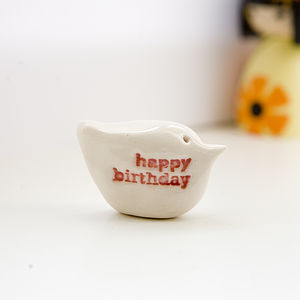 'Happy Birthday' Porcelain Messenger Bird - interior accessories