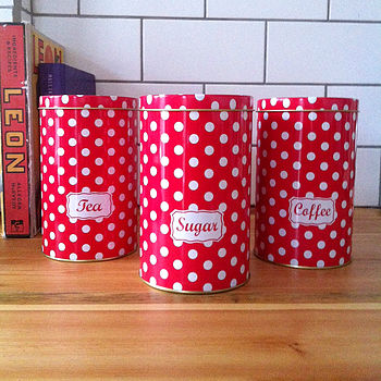 Retro Polkadot Tea, Coffee, Sugar Tins