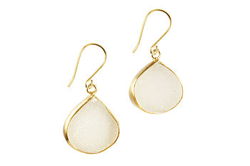 White Druzy And Gold Pear Earrings