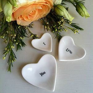 Miniature 'I Love You' Porcelain Heart Tokens - mother's day gifts