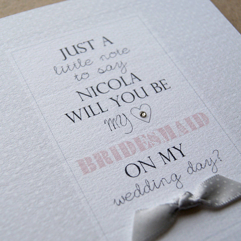 Personalised Will You Be My Bridesmaid Card By Button Box Cards