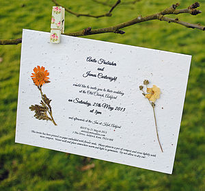 Personalised Plantable Paper Wedding Invite - wedding stationery