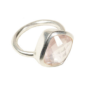 Square Rose Quartz And Silver Ring