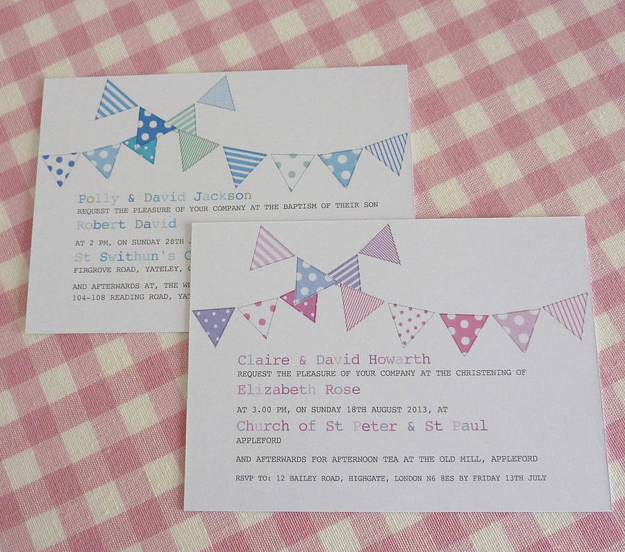 bunting personalised christening invitations by little cherub design