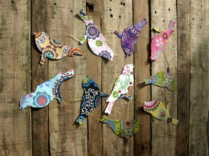 Handmade Paper Bird Hanging String Decoration - room decorations