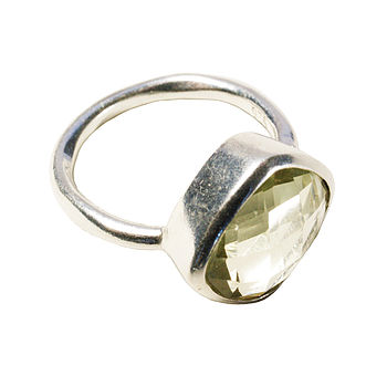 Square Green Amethyst And Silver Ring