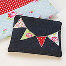 Denim Bunting Purse in Reds/Greens