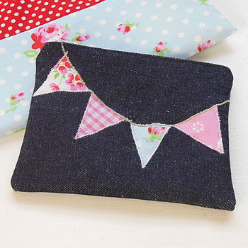 Denim Bunting Purse in Pastels