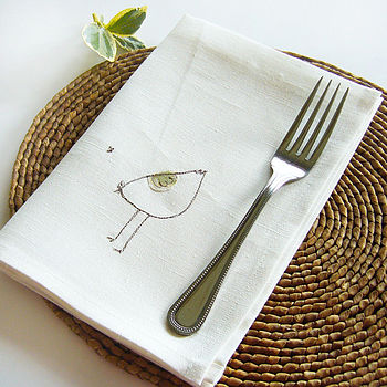 Embroidered White Linen Chicken Napkins