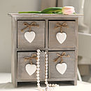Storage Chest With Hanging Wooden Hearts