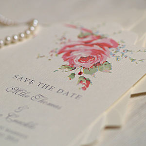English Rose Save The Date Cards