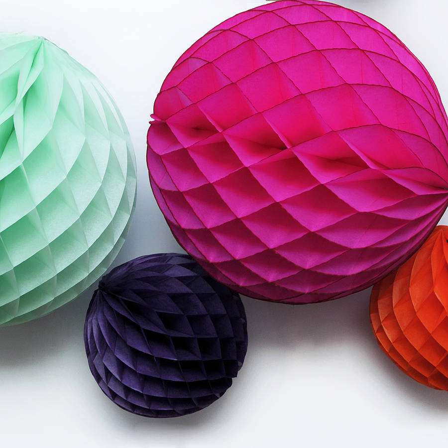 tissue paper honeycomb ball decoration by peach blossom